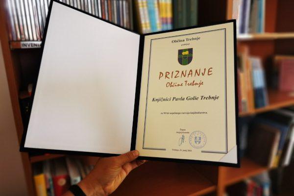 Knjižnica prejela priznanje